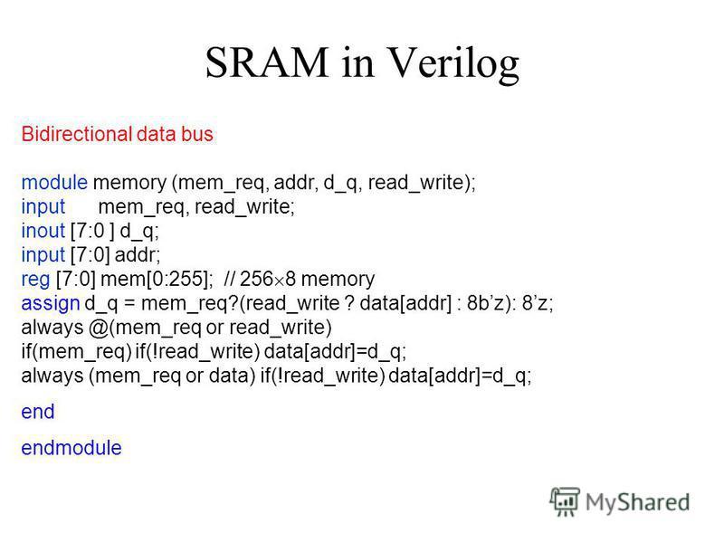 SRAM in Verilog Bidirectional data bus module memory (mem_req, addr, d_q, read_write); input mem_req, read_write; inout [7:0 ] d_q; input [7:0] addr; reg [7:0] mem[0:255]; // 256 8 memory assign d_q = mem_req?(read_write ? data[addr] : 8bz): 8z; alwa