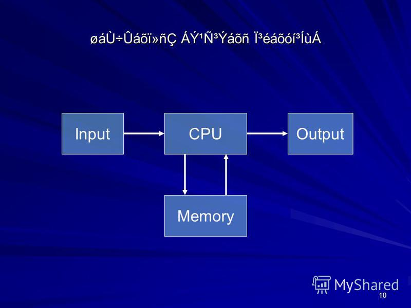10 øáÙ÷Ûáõï»ñÇ ÁݹѳÝáõñ ϳéáõóí³ÍùÁ CPUOutput Memory Input