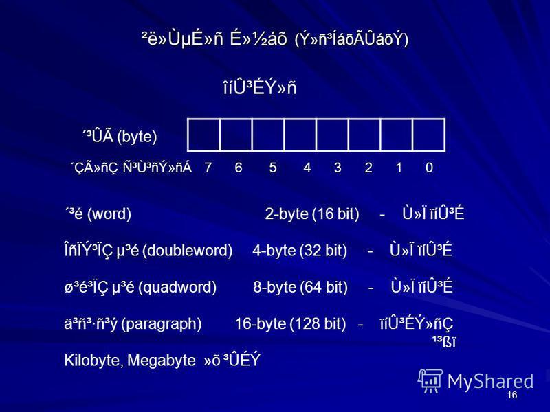 16 ²ë»ÙµÉ»ñ É»½áõ (Ý»ñ³ÍáõÃÛáõÝ) îíÛ³ÉÝ»ñ ´ÇûñÇ Ñ³Ù³ñÝ»ñÁ 7 6 5 4 3 2 1 0 ´³Ûà (byte) ´³é (word) 2-byte (16 bit) - Ù»Ï ïíÛ³É ÎñÏݳÏÇ µ³é (doubleword) 4-byte (32 bit) - Ù»Ï ïíÛ³É ø³é³ÏÇ µ³é (quadword) 8-byte (64 bit) - Ù»Ï ïíÛ³É ä³ñ³·ñ³ý (paragraph)