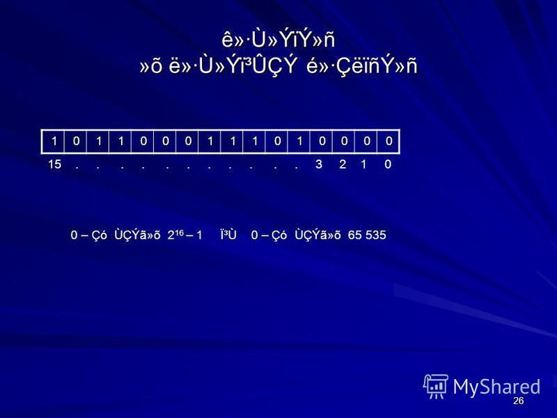 26 ê»·Ù»ÝïÝ»ñ »õ ë»·Ù»Ýï³ÛÇÝ é»·ÇëïñÝ»ñ 1 0 1 1 0 0 0 1 1 1 0 1 0 0 0 0 15........... 3 2 1 0 0 – Çó ÙÇÝã»õ 2 16 – 1 ϳ٠0 – Çó ÙÇÝã»õ 65 535 0 – Çó ÙÇÝã»õ 2 20 – 1 ϳ٠0 – Çó ÙÇÝã»õ 1 048 575 CS:n