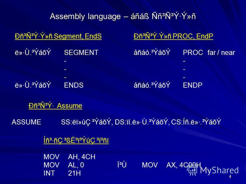 4 Assembly language – áñáß Ññ³Ñ³Ý·Ý»ñ Ðñ³Ñ³Ý· Assume ASSUMESS:ëï»ùÇ ³ÝáõÝ, DS:ïí.ë»·Ù.³ÝáõÝ, CS:Íñ.ë»·.³ÝáõÝ Ðñ³Ñ³Ý·Ý»ñ Segment, EndS ë»·Ù.³ÝáõÝSEGMENT - ë»·Ù.³ÝáõÝENDS Ðñ³Ñ³Ý·Ý»ñ PROC, EndP åñáó.³ÝáõÝPROCfar / near - åñáó.³ÝáõÝ ENDP Ìñ³·ñÇ ³ß˳ï³ÝùÇ