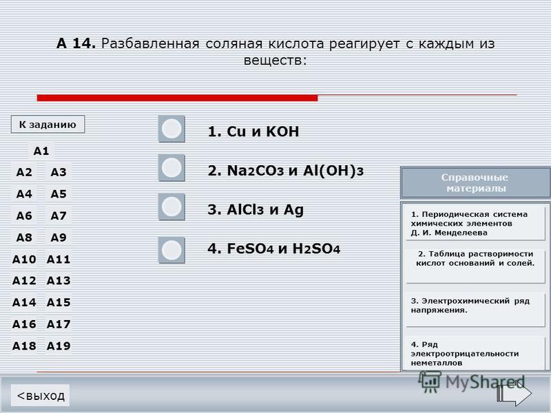 А 14. Разбавленная соляная кислота реагирует с каждым из веществ: 1. Cu и KOH 2. Na 2 CO 3 и Al(OH) 3 3. AlCl 3 и Ag 4. FeSO 4 и H 2 SO 4 <выход A1 A19A18 A17A16 A15A14 A13A12 A11A10 A9A8 A7A6 A5A4 A3A2 К заданию - - - + Справочные материалы 1. Перио