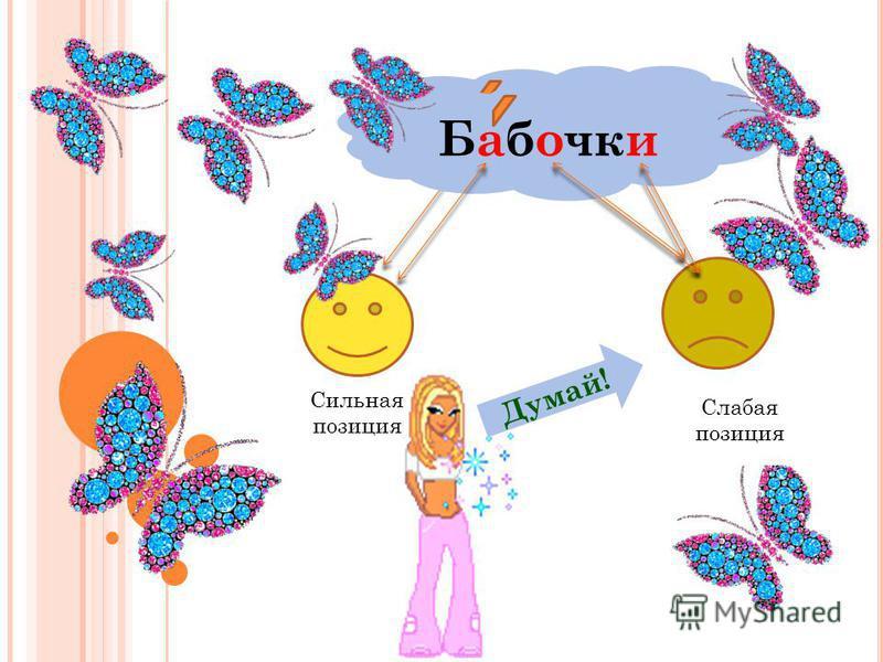Бабочки Сильная позиция Слабая позиция Думай! Бабочки Слабая позиция