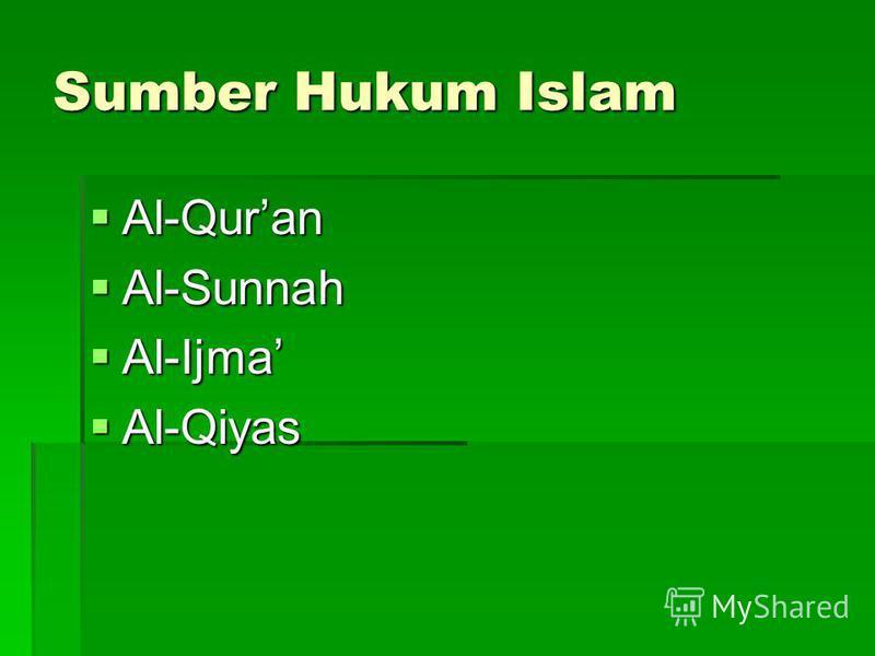 Sumber Hukum Islam Al-Quran Al-Quran Al-Sunnah Al-Sunnah Al-Ijma Al-Ijma Al-Qiyas Al-Qiyas