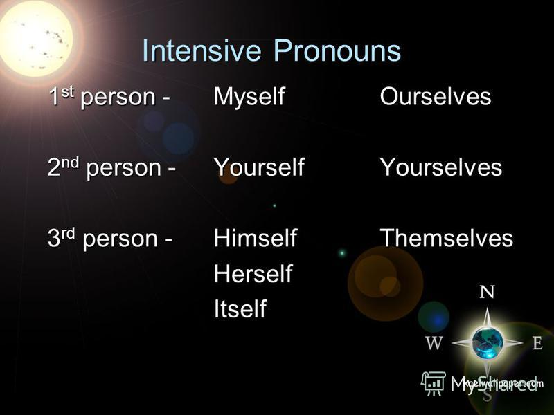 Intensive Pronouns 1 st person - MyselfOurselves 2 nd person - YourselfYourselves 3 rd person - HimselfThemselves HerselfItself