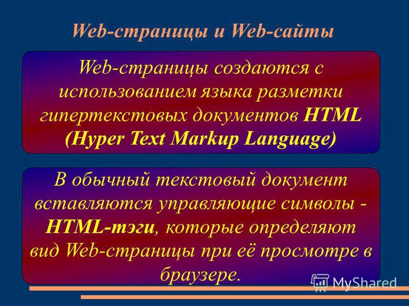 Web-страницы и Web-сайты Web-страницы создаются с использованием языка разметки гипертекстовых документов HTML (Hyper Text Markup Language) В обычный текстовый документ вставляются управляющие символы - HTML-тэги, которые определяют вид Web-страницы