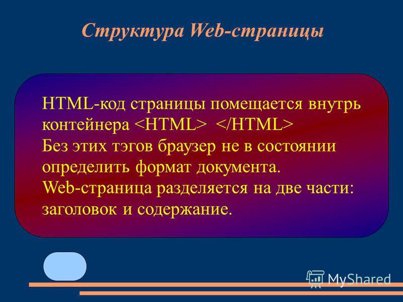 HTML-код страницы помещается внутрь контейнера Без этих тэгов браузер не в состоянии определить формат документа. Web-страница разделяется на две части: заголовок и содержание. Структура Web-страницы