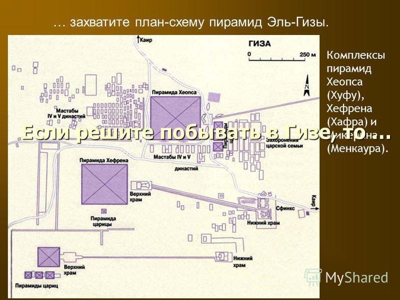 Комплексы пирамид Хеопса (Хуфу), Хефрена (Хафра) и Микерина (Менкаура). … захватите план-схему пирамид Эль-Гизы. Если решите побывать в Гизе, то …