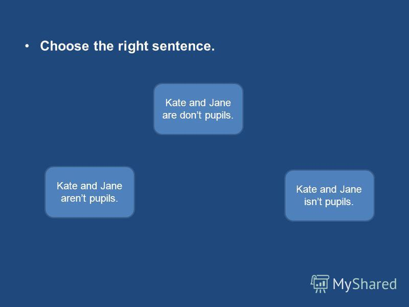 Choose the right sentence. Kate and Jane arent pupils. Kate and Jane are dont pupils. Kate and Jane isnt pupils.