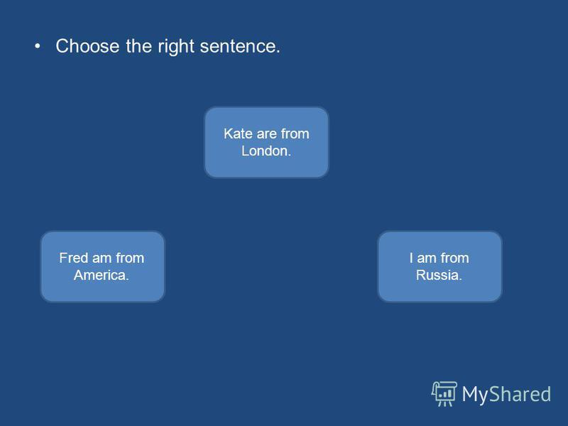 Choose the right sentence. I am from Russia. Fred am from America. Kate are from London.