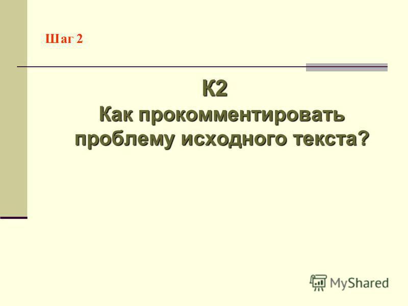 Шаг 2 К2 Как прокомментировать проблему исходного текста?
