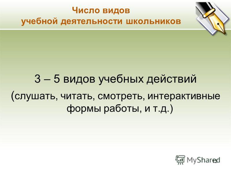 Число видов преподавания 3 - 5 видов преподавания ( словесный, демонстрация, использование ТСО, использование интерактивных методов и т.д.) 12