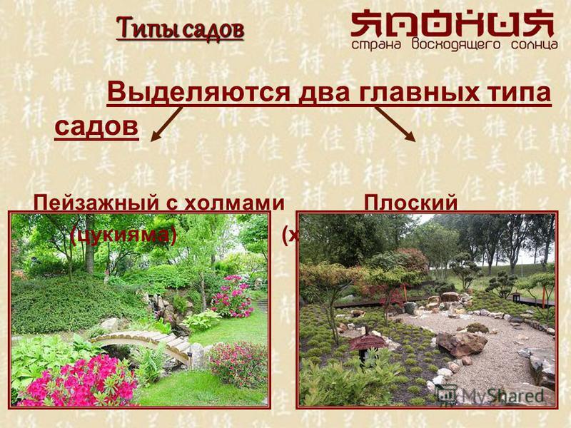 Типы садов Выделяются два главных типа садов Пейзажный с холмами Плоский (цукияма) (кира-нива)