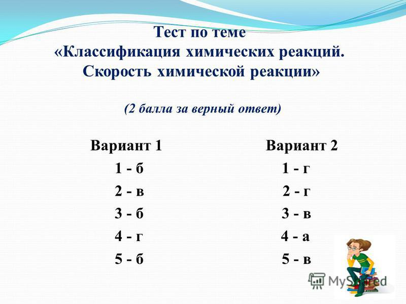 Тест по теме «Классификация химических реакций. Скорость химической реакции» (2 балла за верный ответ) Вариант 1 Вариант 2 1 - б 1 - г 2 - в 2 - г 3 - б 3 - в 4 - г 4 - а 5 - б 5 - в