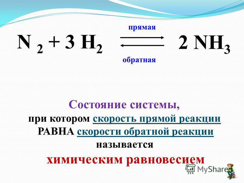 N 2 + 3 H 2 2 NH 3 прямая обратная Состояние системы, при котором скорость прямой реакции РАВНА скорости обратной реакции называется химическим равновесием