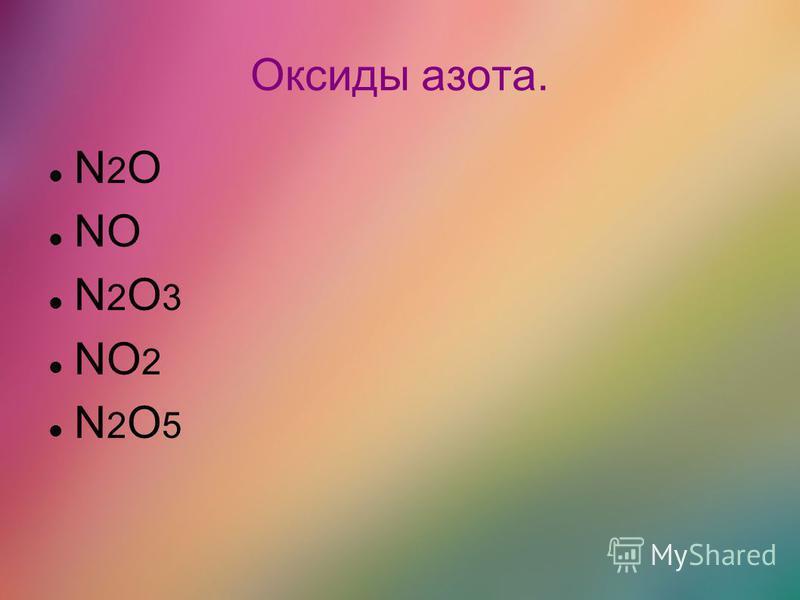 Оксиды азота. N 2 O NO N 2 O 3 NO 2 N 2 O 5