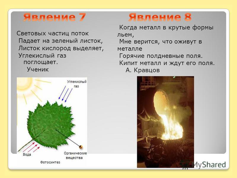 Световых частиц поток Падает на зеленый листок, Листок кислород выделяет, Углекислый газ поглощает. Ученик Когда металл в крутые формы льем, Мне верится, что оживут в металле Горячие полдневные поля. Кипит металл и ждут его поля. А. Кравцов
