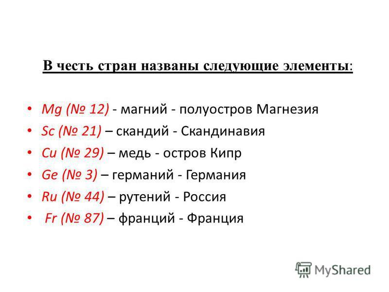 В честь стран названы следующие элементы : Mg ( 12) - магний - полуостров Магнезия Sc ( 21) – скандий - Скандинавия Cu ( 29) – медь - остров Кипр Ge ( 3) – германий - Германия Ru ( 44) – рутений - Россия Fr ( 87) – франций - Франция