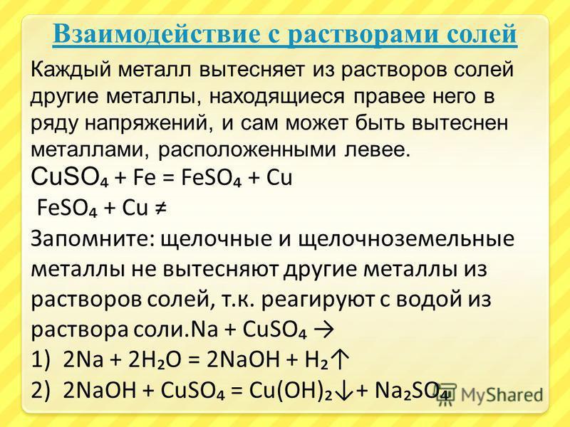 Взаимодействие с растворами солей Каждый металл вытесняет из растворов солей другие металлы, находящиеся правее него в ряду напряжений, и сам может быть вытеснен металлами, расположенными левее. CuSO + Fe = FeSO + Cu FeSO + Cu Запомните: щелочные и щ