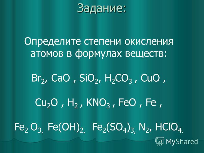 Задание: Определите степени окисления атомов в формулах веществ: Br 2, CaO, SiO 2, H 2 CO 3, CuO, Cu 2 O, H 2, KNO 3, FeO, Fe, Fe 2 O 3, Fe(OH) 2, Fe 2 (SO 4 ) 3, N 2, HClO 4.