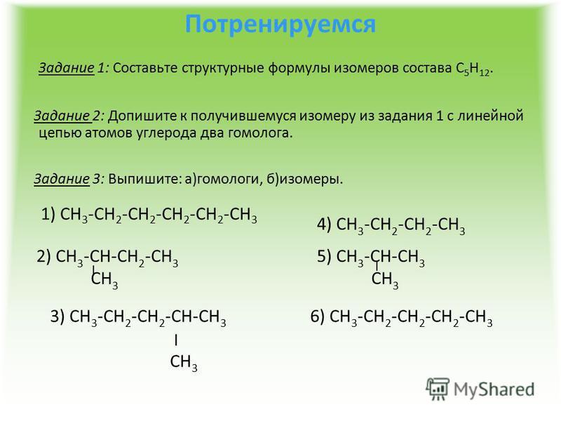Потренируемся Задание 1: Составьте структурные формулы изомеров состава С 5 Н 12. Задание 2: Допишите к получившемуся изомеру из задания 1 с линейной цепью атомов углерода два гомолога. Задание 3: Выпишите: а)гомологи, б)изомеры. 1) СН 3 -СН 2 -СН 2