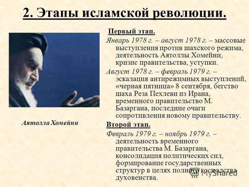 2. Этапы исламской революции. Первый этап. Январь 1978 г. – август 1978 г. – массовые выступления против шахского режима, деятельность Аятоллы Хомейни, кризис правительства, уступки. Август 1978 г. – февраль 1979 г. – эскалация анти режимных выступле