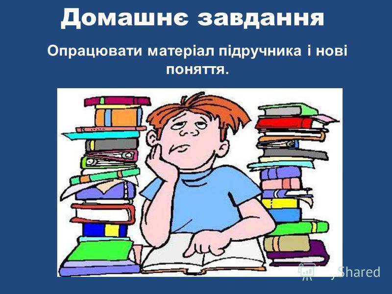 Домашнє завдання Опрацювати матеріал підручника і нові поняття.