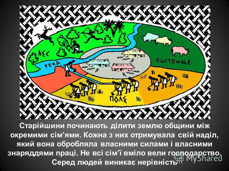 Старійшини починають ділити землю общини між окремими сімями. Кожна з них отримувала свій наділ, який вона обробляла власними силами і власними знаряддями праці. Не всі сімї вміло вели господарство. Серед людей виникає нерівність.