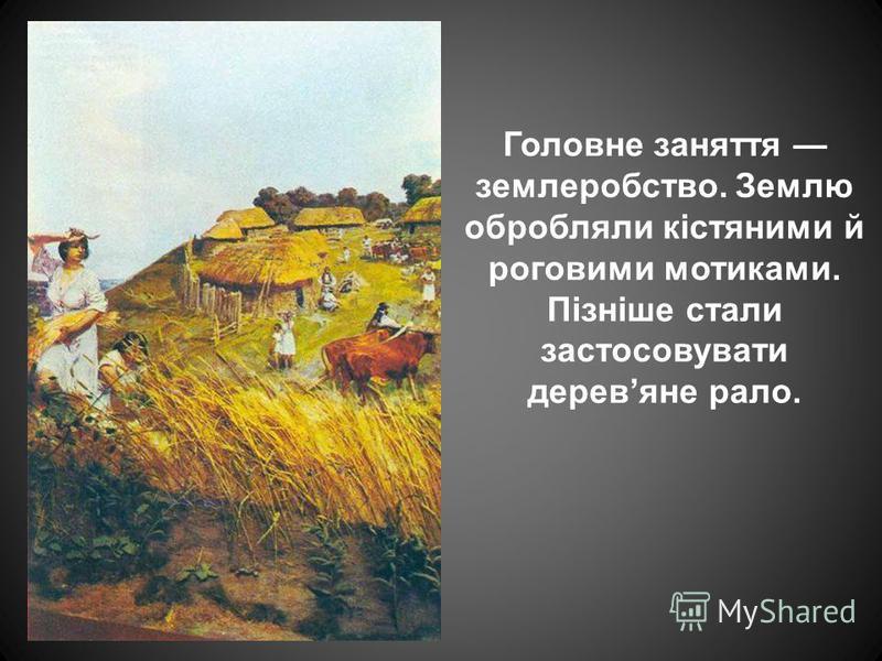 Головне заняття землеробство. Землю обробляли кістяними й роговими мотиками. Пізніше стали застосовувати деревяне рало.