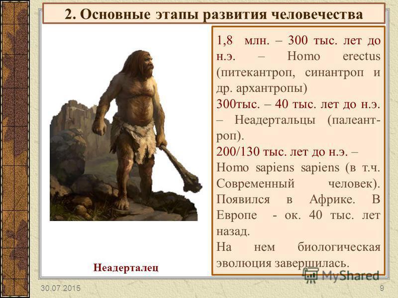 2. Основные этапы развития человечества 1,8 млн. – 300 тыс. лет до н.э. – Homo erectus (питекантроп, синантроп и др. архантропы) 300 тыс. – 40 тыс. лет до н.э. – Неадертальцы (пале антроп). 200/130 тыс. лет до н.э. – Homo sapiens sapiens (в т.ч. Совр