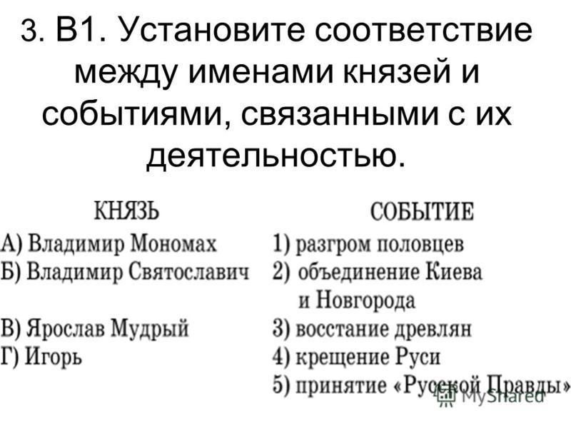 3. В1. Установите соответствие между именами князей и событиями, связанными с их деятельностью.