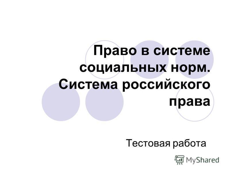 Право в системе социальных норм. Система российского права Тестовая работа