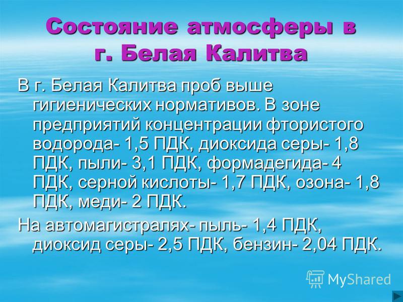 Состояние атмосферы в г. Белая Калитва В г. Белая Калитва проб выше гигиенических нормативов. В зоне предприятий концентрации фтористого водорода- 1,5 ПДК, диоксида серы- 1,8 ПДК, пыли- 3,1 ПДК, формальдегида- 4 ПДК, серной кислоты- 1,7 ПДК, озона- 1