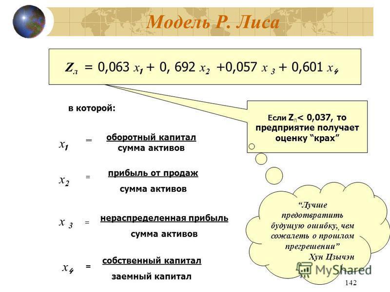 142 Модель Р. Лиса Z л = 0,063 х 1 + 0, 692 х 2 +0,057 х 3 + 0,601 х 4 в которой: х 1 х 1 оборотный капитал сумма активов = х 2 х 2 = = прибыль от продаж сумма активов х 3 х 3 = собственный капитал заемный капитал х 4 х 4 = нераспределенная прибыль с