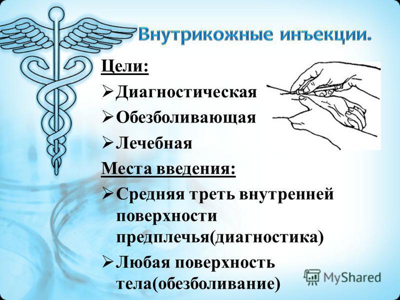 Цели: Диагностическая Обезболивающая Лечебная Места введения: Средняя треть внутренней поверхности предплечья(диагностика) Любая поверхность тела(обезболивание)
