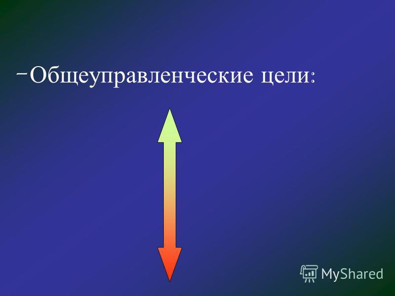 - Общеуправленческие цели :