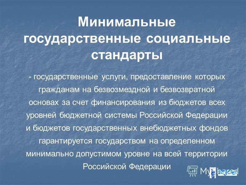 Минимальные государственные социальные стандарты - государственные услуги, предоставление которых гражданам на безвозмездной и безвозвратной основах за счет финансирования из бюджетов всех уровней бюджетной системы Российской Федерации и бюджетов гос