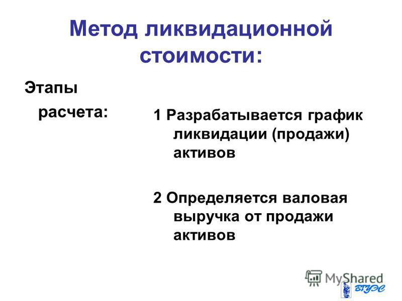 Метод ликвидационной стоимости: Этапы расчета: 1 Разрабатывается график ликвидации (продажи) активов 2 Определяется валовая выручка от продажи активов