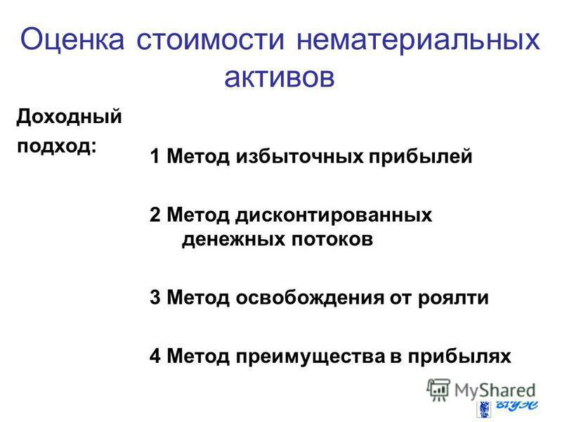Доходный подход: 1 Метод избыточных прибылей 2 Метод дисконтированных денежных потоков 3 Метод освобождения от роялти 4 Метод преимущества в прибылях Оценка стоимости нематериальных активов