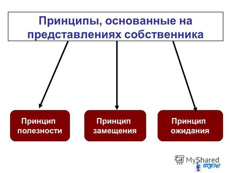 Принцип полезности Принцип замещения Принцип ожидания Принципы, основанные на представлениях собственника