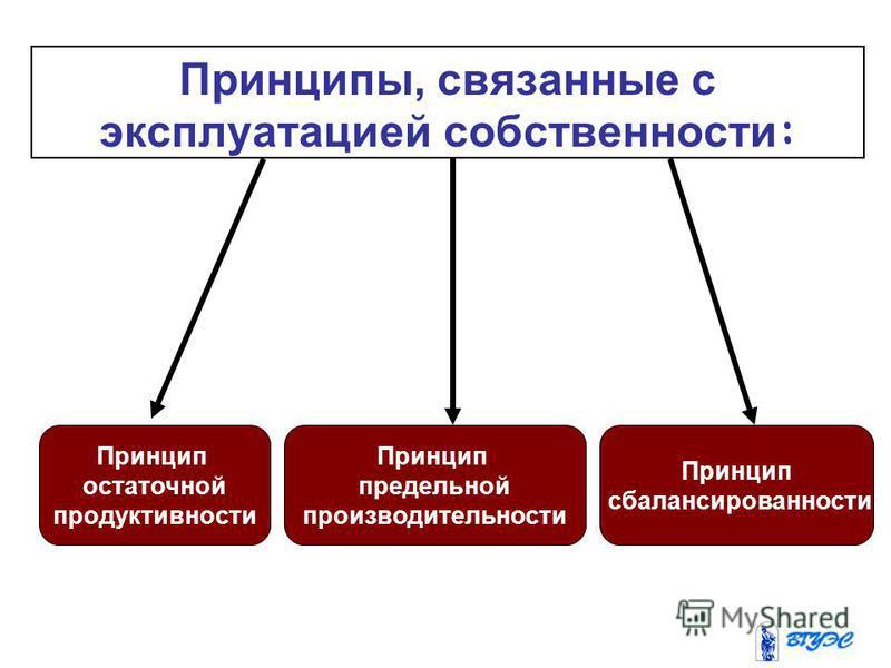 Принцип остаточной продуктивности Принцип предельной производительности Принцип сбалансированности Принципы, связанные с эксплуатацией собственности :