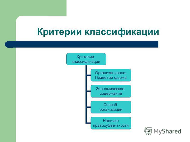 Критерии классификации
