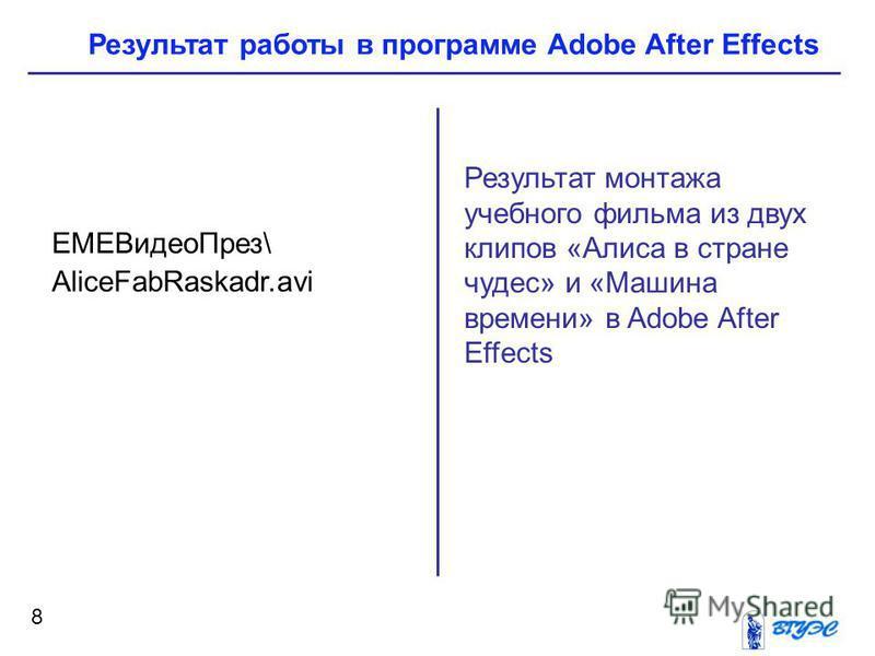 8 Результат монтажа учебного фильма из двух клипов «Алиса в стране чудес» и «Машина времени» в Adobe After Effects ЕМЕВидео През\ AliceFabRaskadr.avi Результат работы в программе Adobe After Effects