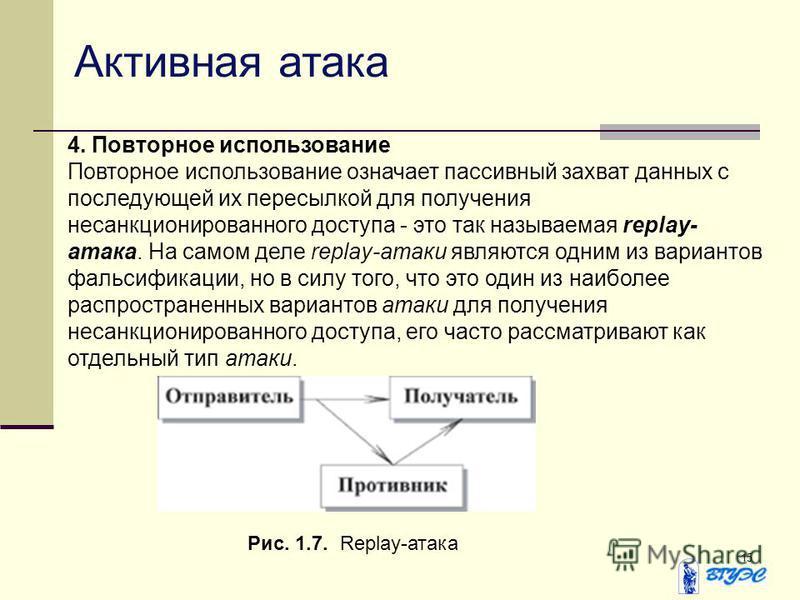 15 4. Повторное использование Повторное использование означает пассивный захват данных с последующей их пересылкой для получения несанкционированного доступа - это так называемая replay- атака. На самом деле replay-атаки являются одним из вариантов ф