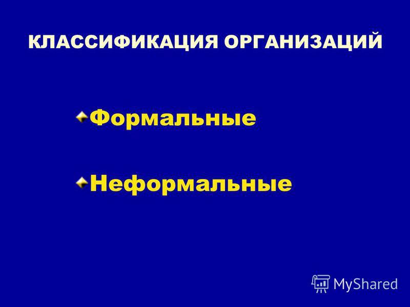 КЛАССИФИКАЦИЯ ОРГАНИЗАЦИЙ Формальные Неформальные