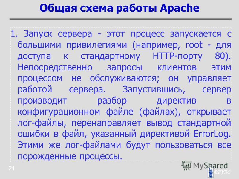 21 1. Запуск сервера - этот процесс запускается с большими привилегиями (например, root - для доступа к стандартному HTTP-порту 80). Непосредственно запросы клиентов этим процессом не обслуживаются; он управляет работой сервера. Запустившись, сервер