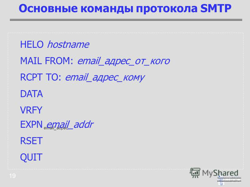 19 HELO hostname MAIL FROM: email_адрес_от_кого RCPT TO: email_адрес_кому DATA VRFY email_адрес EXPN email_addr RSET QUIT Основные команды протокола SMTP