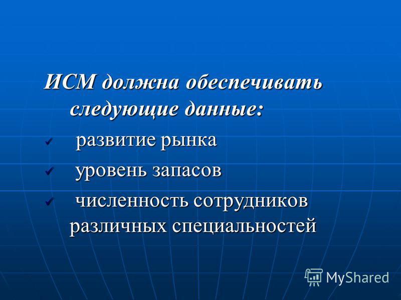 ИСМ должна обеспечивать следующие данные: развитие рынка развитие рынка уровень запасов уровень запасов численность сотрудников различных специальностей численность сотрудников различных специальностей