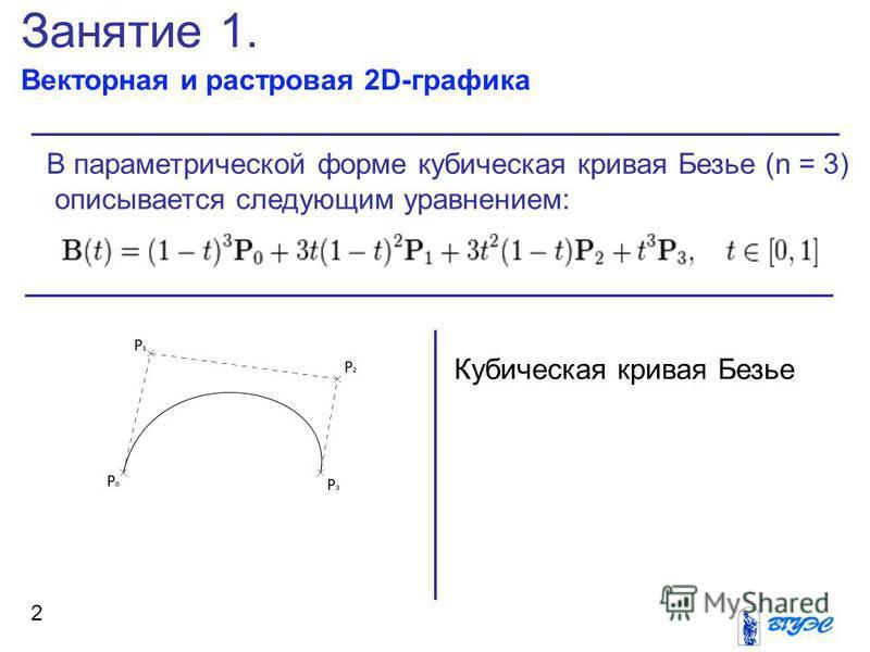 Занятие 1. Векторная и растровая 2D-графика 2 В параметрической форме кубическая кривая Безье (n = 3) описывается следующим уравнением: Кубическая кривая Безье