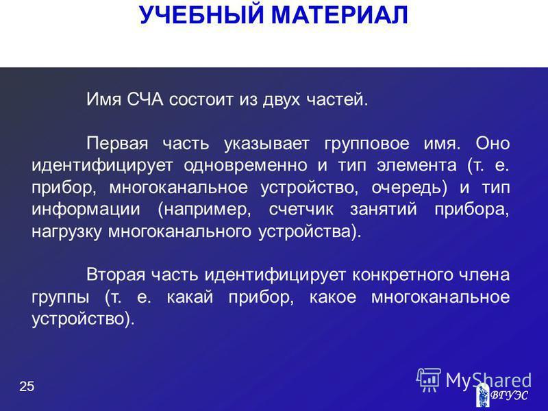 УЧЕБНЫЙ МАТЕРИАЛ 25 Имя СЧА состоит из двух частей. Первая часть указывает групповое имя. Оно идентифицирует одновременно и тип элемента (т. е. прибор, многоканальное устройство, очередь) и тип информации (например, счетчик занятий прибора, нагрузку